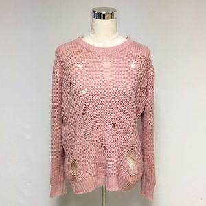 Rue21 Blush Pink Destroyed Distressed Sweater 8G